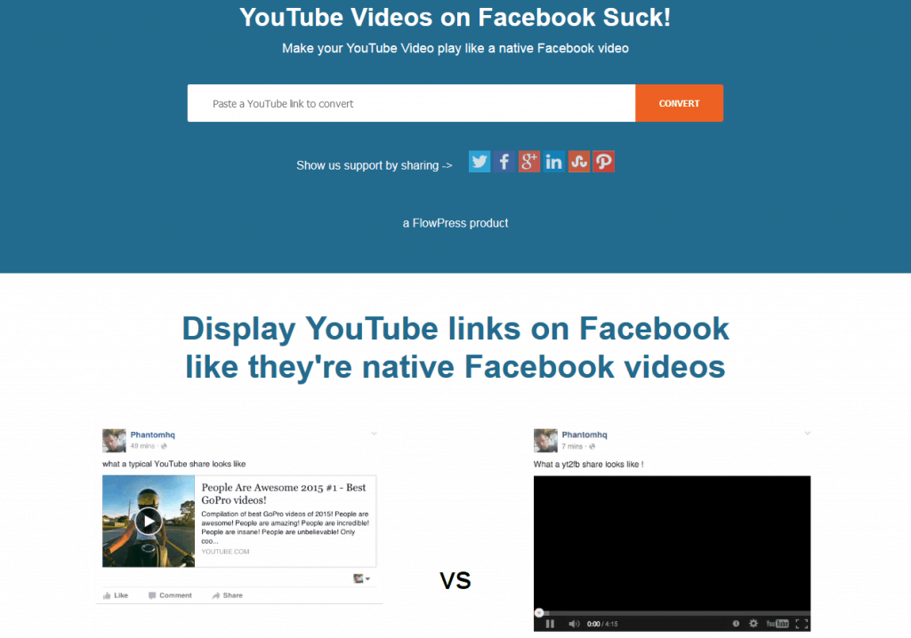 YT2FB - YouTube Videos umwandel auf Facebook
