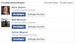 Facebook Freundschaftsanfragen