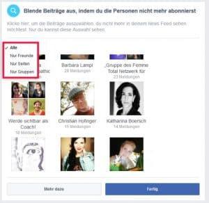 Facebook Startseite einstellen Newsfeed Einstellungen Abonnieren Personen und Seiten