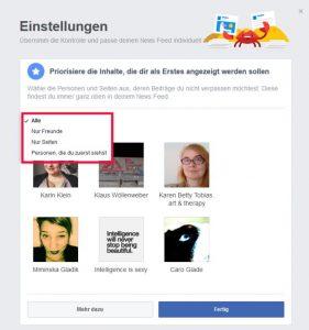 Facebook Startseite einstellen Newsfeed Einstellungen Inhalte Personen und Seiten