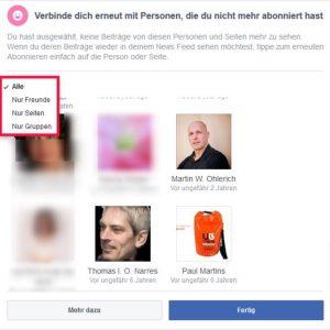 Facebook Startseite einstellen Newsfeed Einstellungen Verbinden Gruppen Personen und Seiten