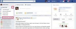 Facebook Startseite einstellen Newsfeed Einstellungen links