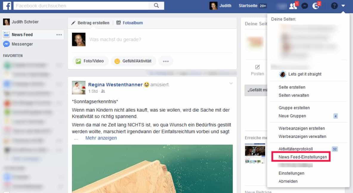 Facebook Startseite einstellen Newsfeed Einstellungen rechts