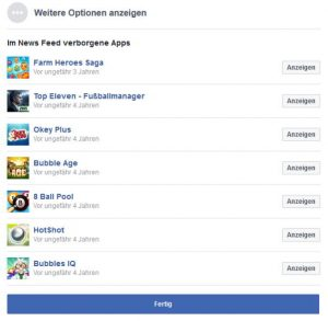 Facebook Startseite einstellen Newsfeed Einstellungen weitere Optionen