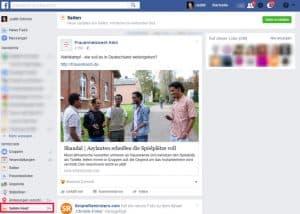 Facebook Startseite einstellen linke Seitenleiste Seitenfeed