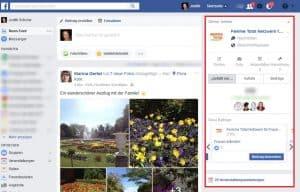 Facebook Startseite einstellen rechte Spalte