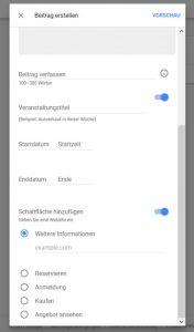 Google My Business Beitrag erstellen
