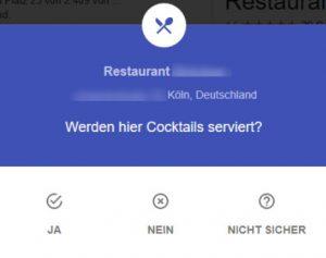 Google My Business Fragen Cocktails