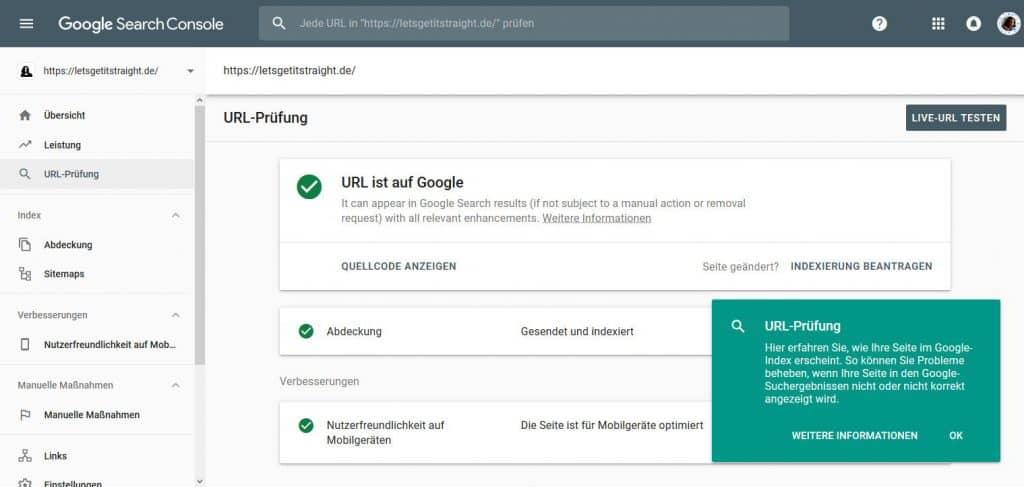 Google Search Console URL Prüfung Ergebnis