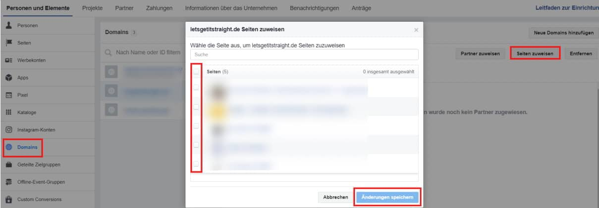 Facebook Domainverifizierung
