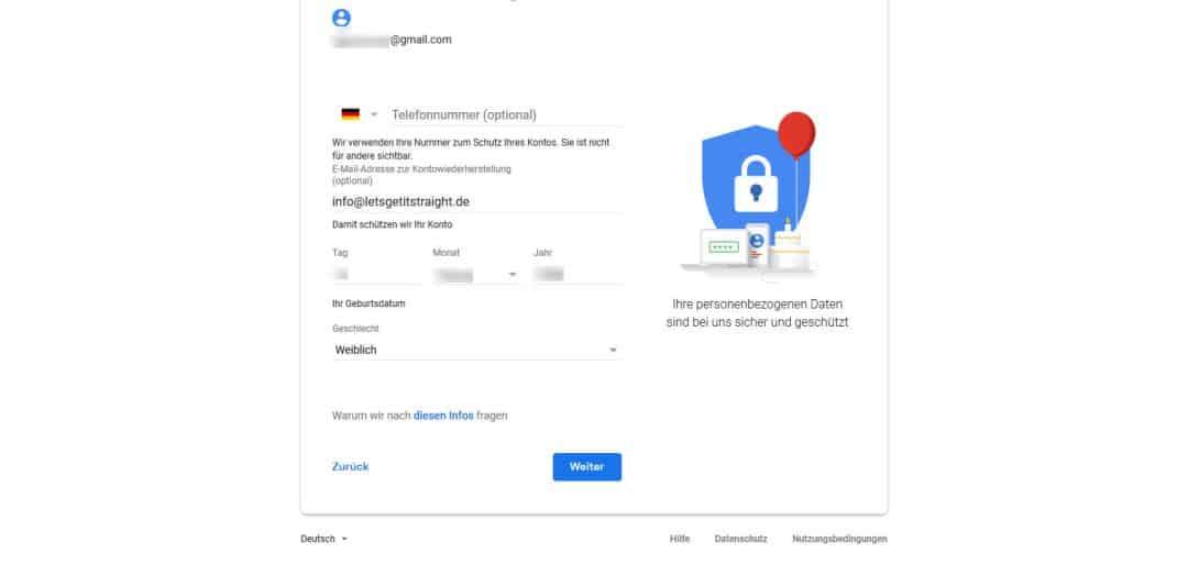 Google Konto erstellen Daten zur Wiederherstellung eingeben
