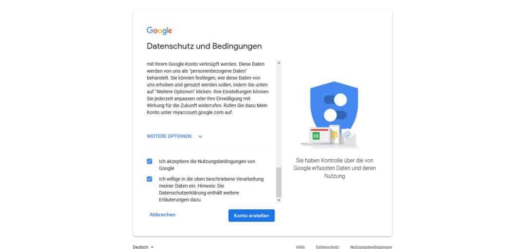 Google Konto erstellen Datenschutz und Bedingungen akzeptieren