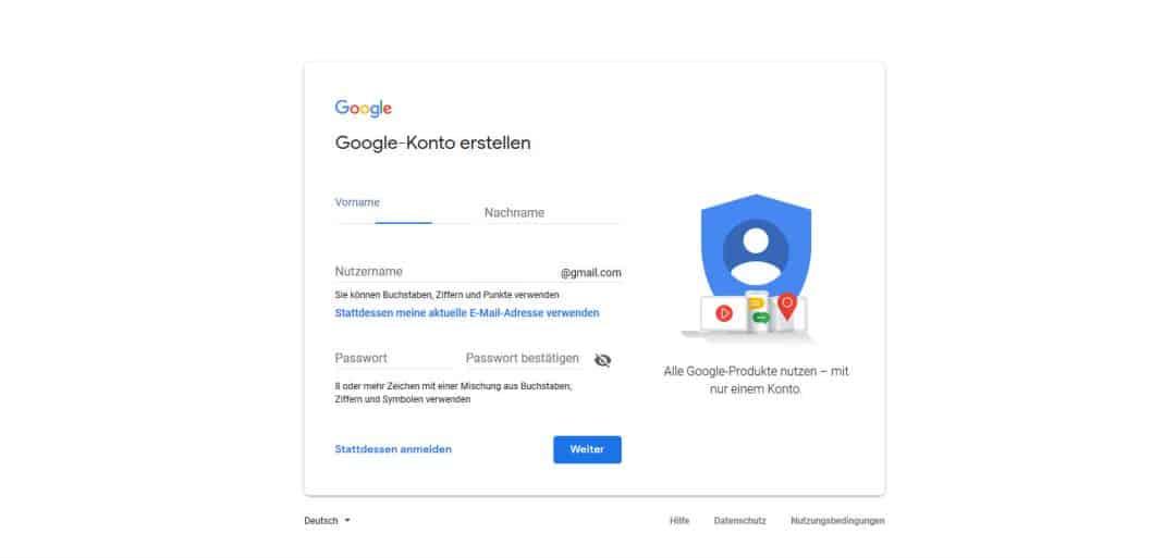 Google Konto erstellen Formular ausfüllen