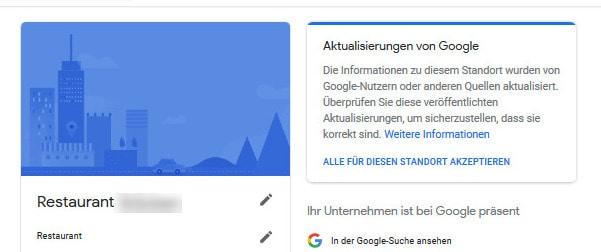 Google My Business Aktualisierungen überprüfen