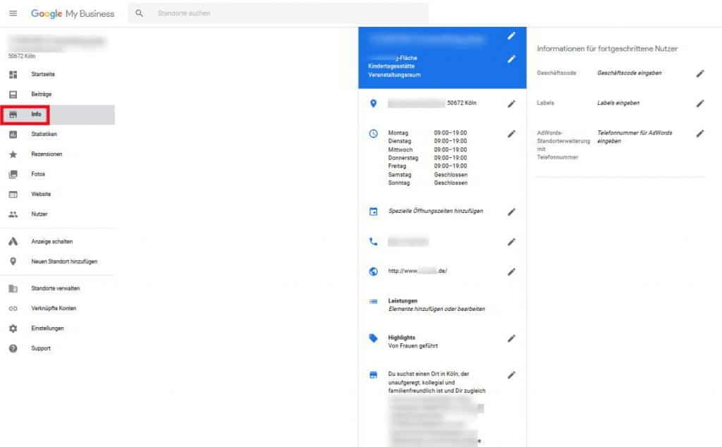Google My Business Info bearbeiten Dashboard