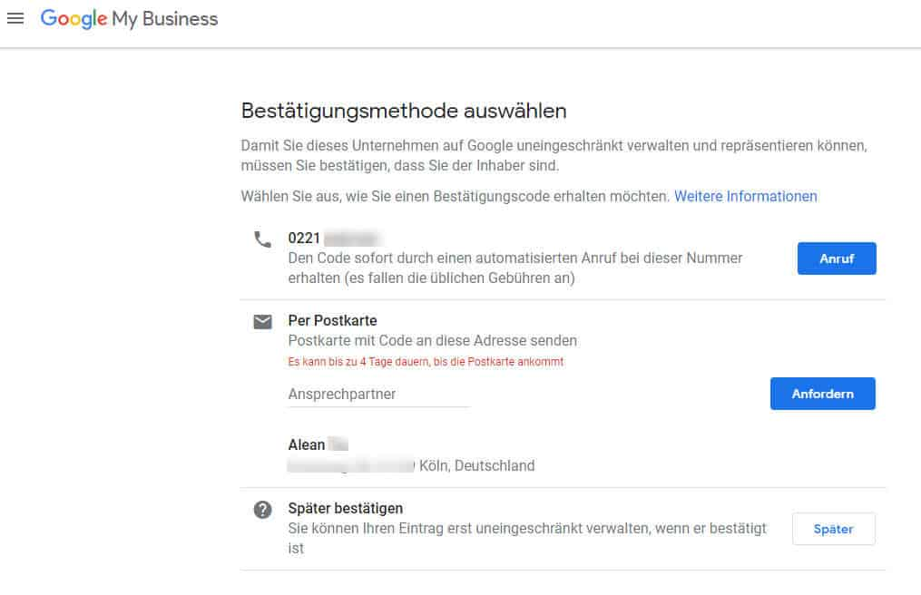 Google My Business Eintrag verifizieren