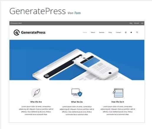Kostenlose WordPress Theme Generate Press