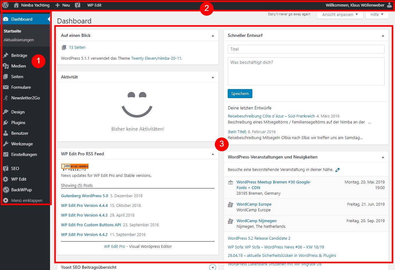 WordPress Webseite erstellen Dashboard