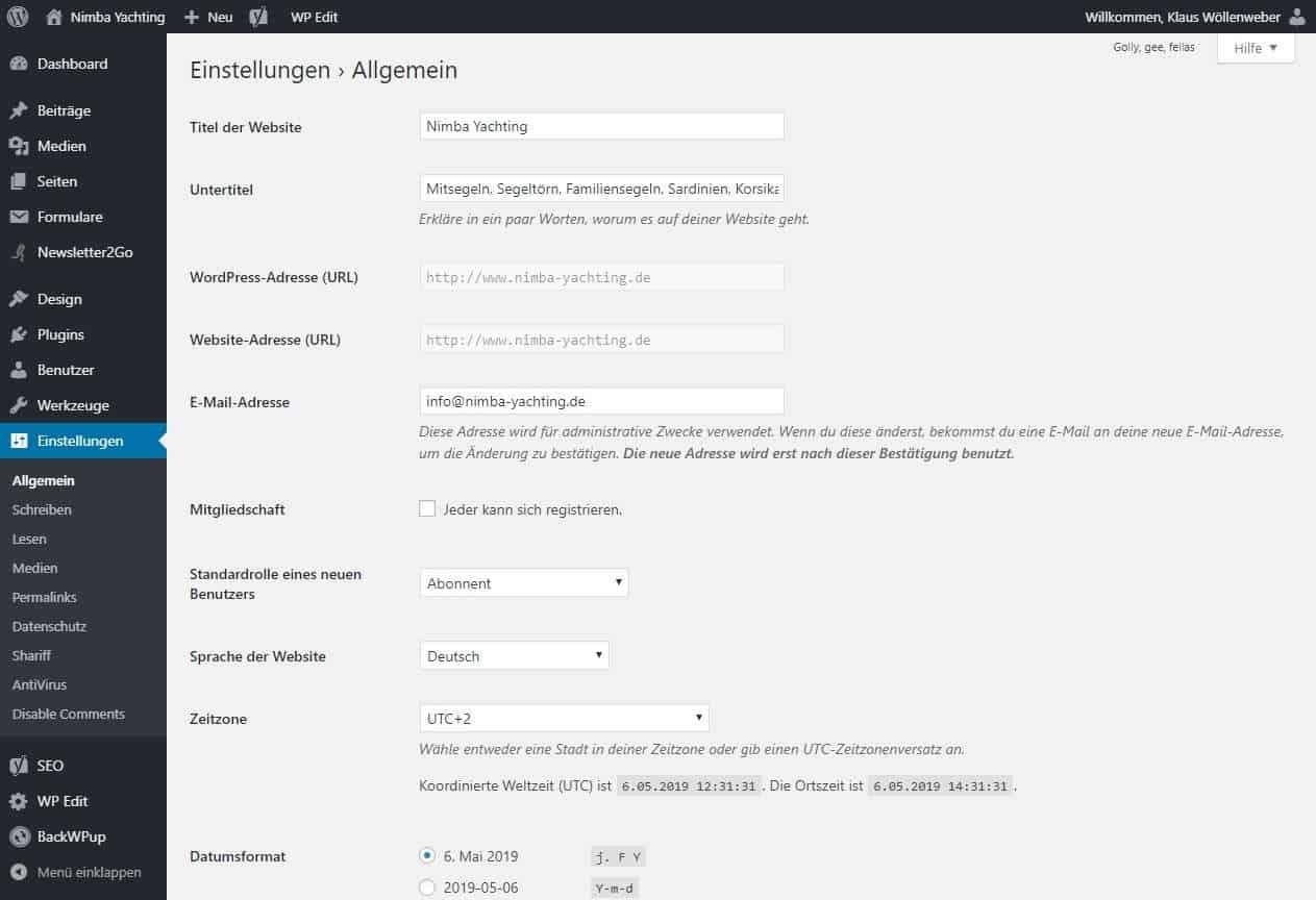 WordPress Webseite erstellen Einstellungen Allgemein