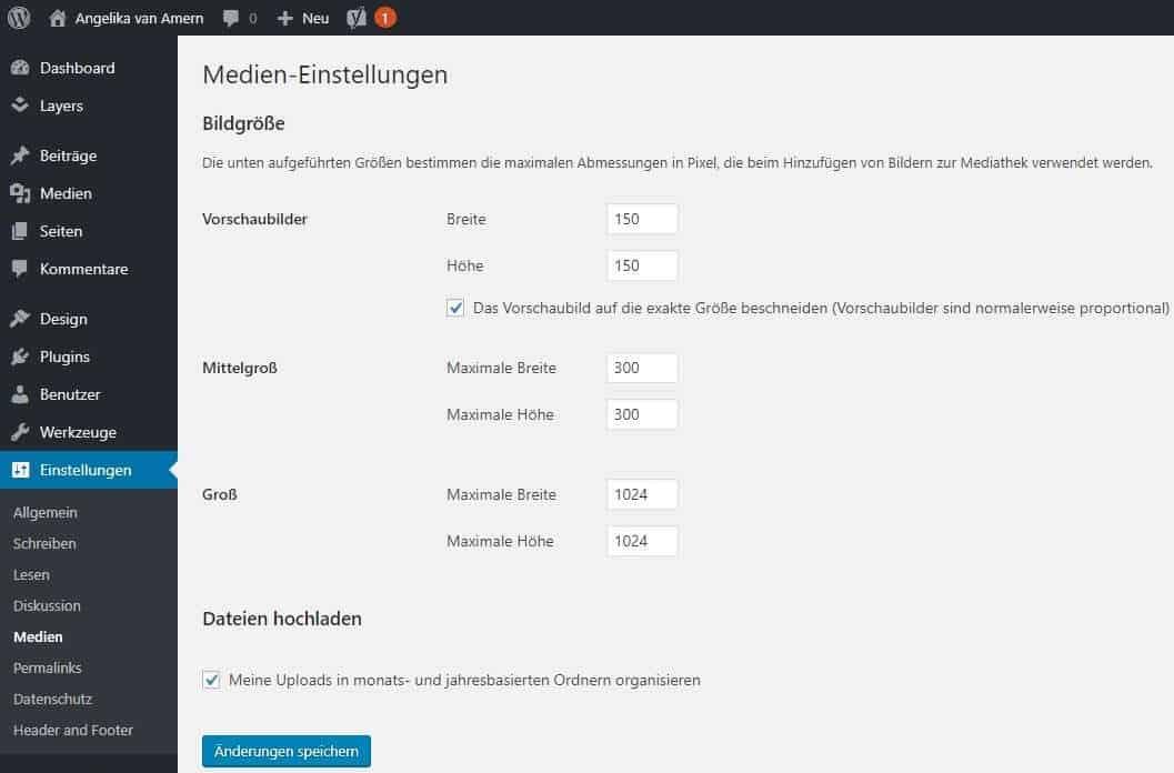 WordPress Webseite erstellen Einstellungen Medien