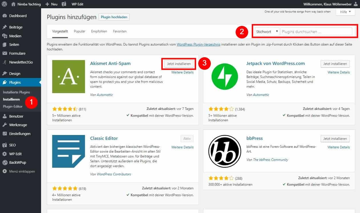 WordPress Webseite erstellen Plugins installieren