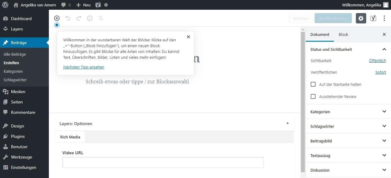 WordPress Webseite erstellen neuen Beitrag erstellen