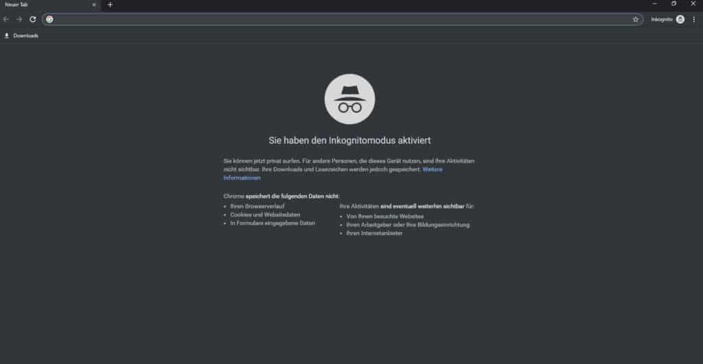 Anonym surfen Chrome