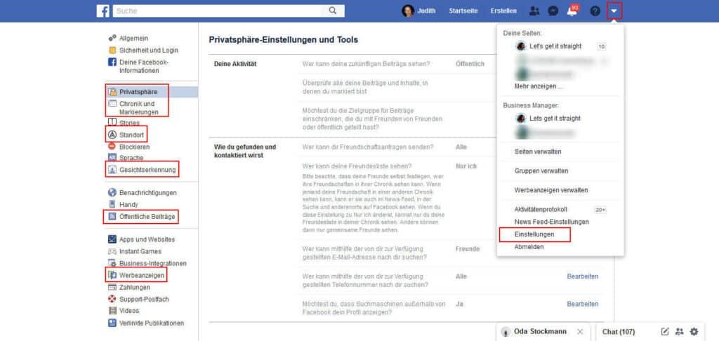 Anonym surfen Facebook Datenschutz Einstellungen
