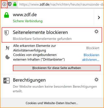 Anonym surfen Firefox Webseiten Berechtigungen
