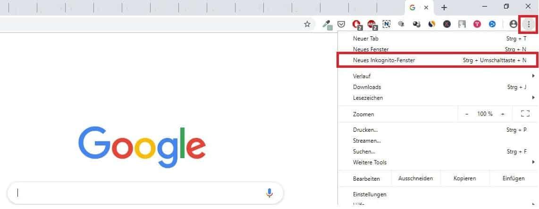 Chrome Inkognito Browser