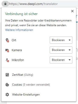 Chrome Webseiten Berechtigungen entzogen