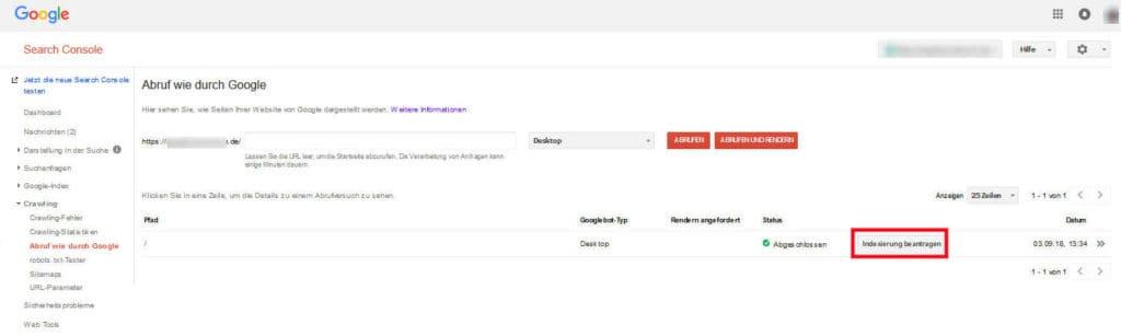Google Search Console Abruf wie durch Google Indexierung beantragen