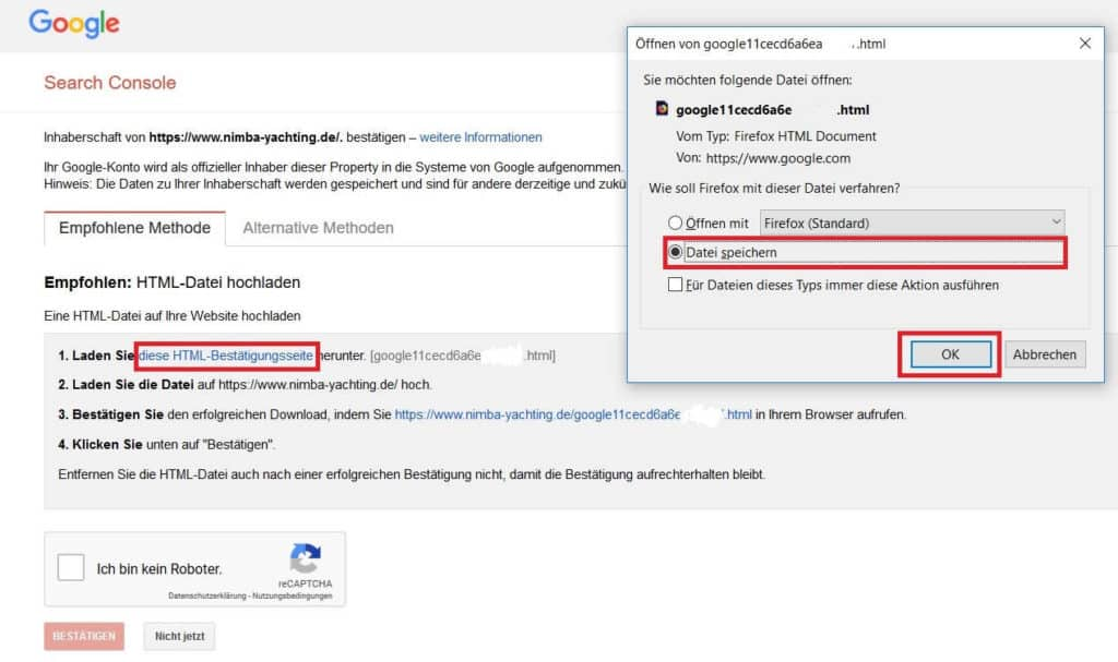 Google Search Console HTML Bestätigungsseite herunterladen