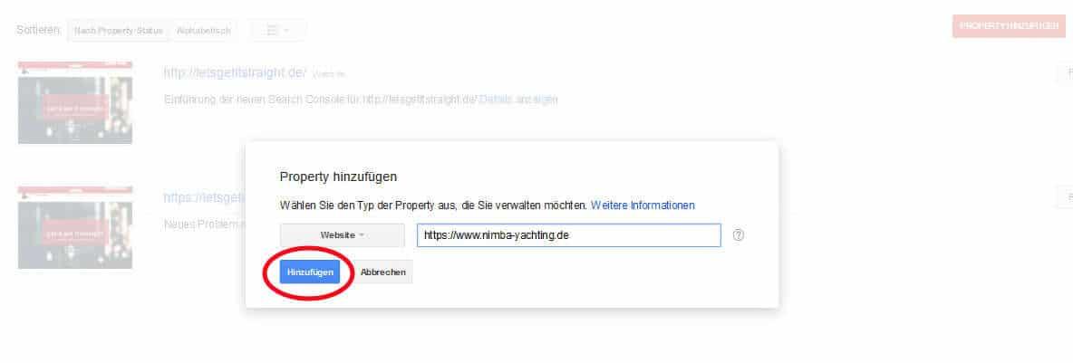 Google Search Console Property hinzufügen