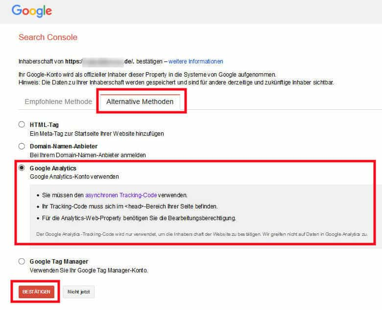Google Search Console Verifizierung mit Google Analytics