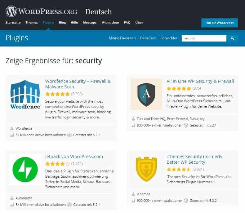 WordPress absichern Security Plugins