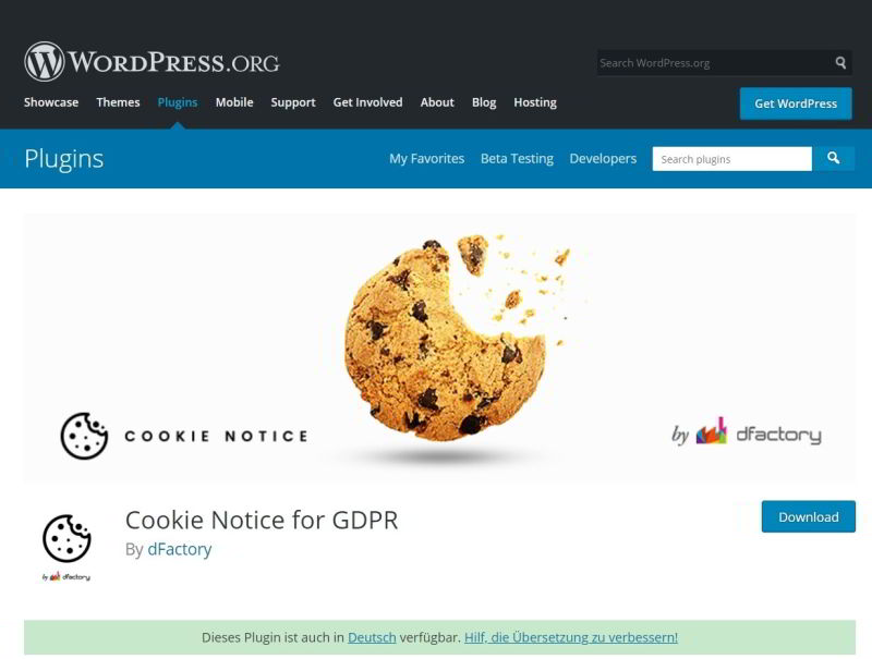 Cookie Hinweis dFactory