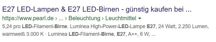 Meta Description Spezifikationen