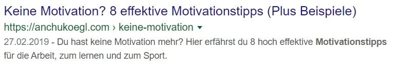 Meta Description aktive Sprache