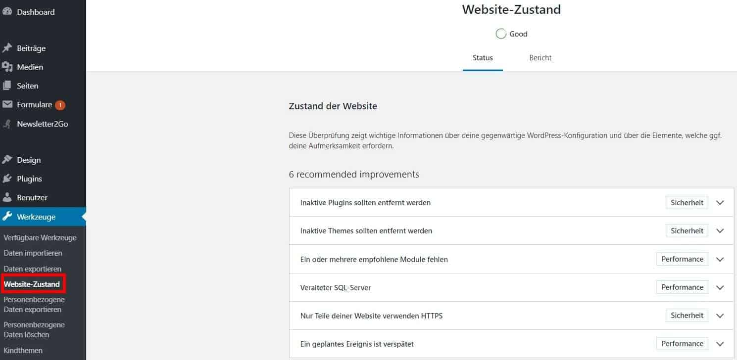 WordPress SEO Website Zustand