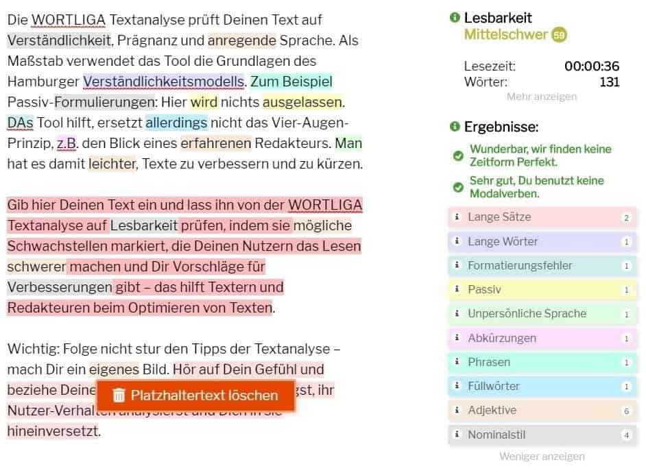 SEO Tools kostenlos Textanalyse mit Wortliga