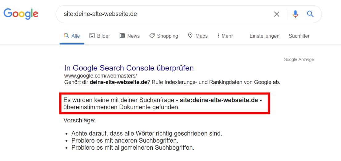 Google Index Fehlermeldung