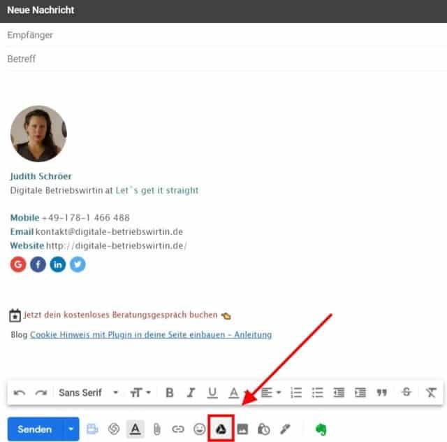 Dokumente direkt aus Gmail einfügen