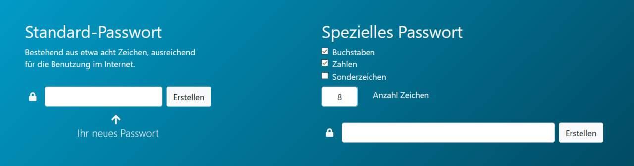 sichere Passwörter mit online Passwort Generator