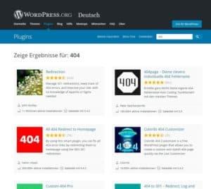 WordPress Plugins 404 Seite
