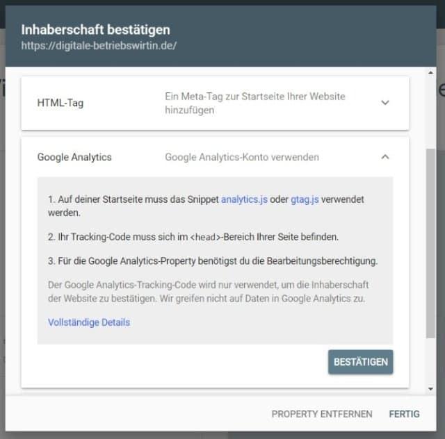 Google Search Console einrichten URL Präfix Google Analytics