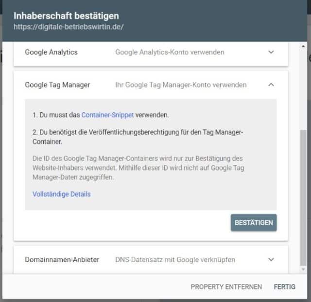 Google Search Console einrichten URL Präfix Google Tag Manager