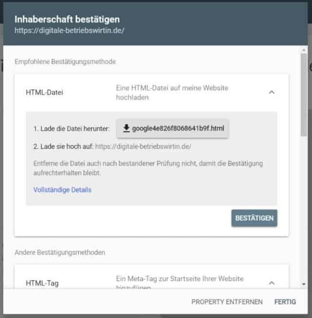 Google Search Console einrichten URL Präfix HTML Datei