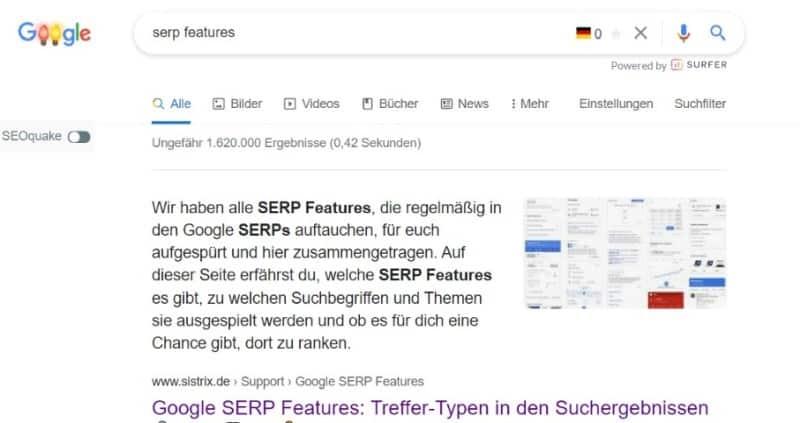 SERP Features Auszug Beispiel Sistrix