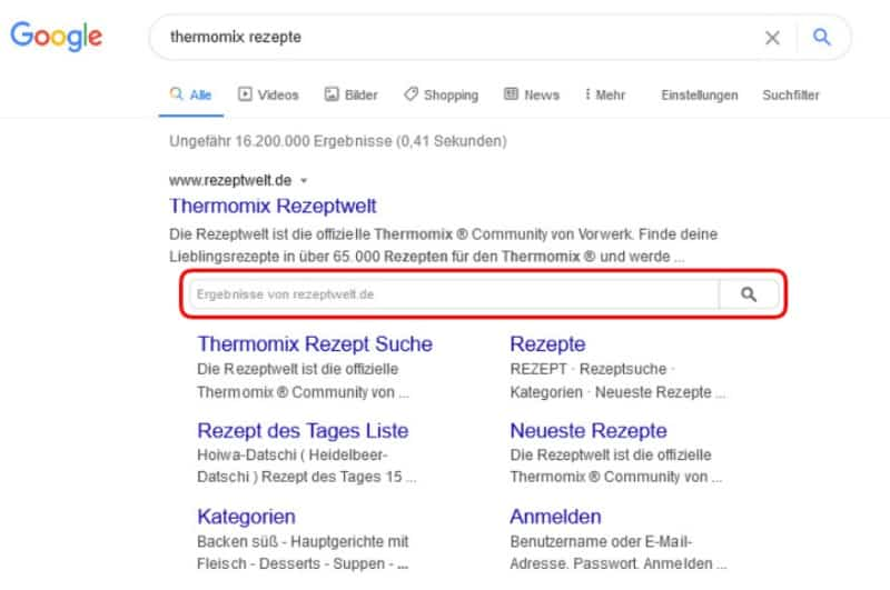 SERP Features Site Links